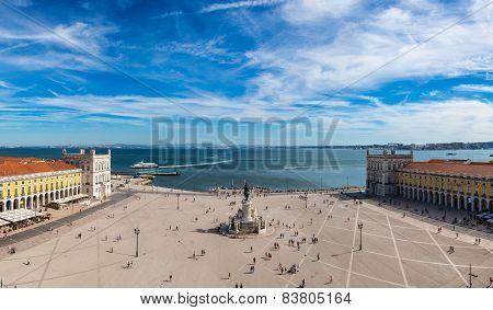 Praca do Comercio (Commerce square) and statue of King Jose I in Lisbon Portugal in a summer day poster