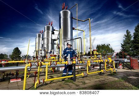 Worker On Gas Plant