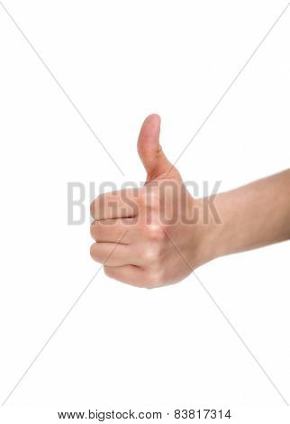 Female Hand With Thumb Up On White Background