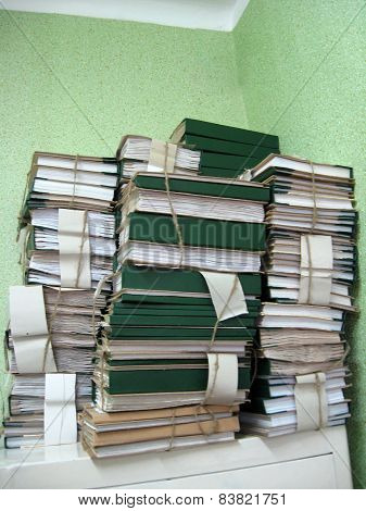 the image of pile of archive papers poster