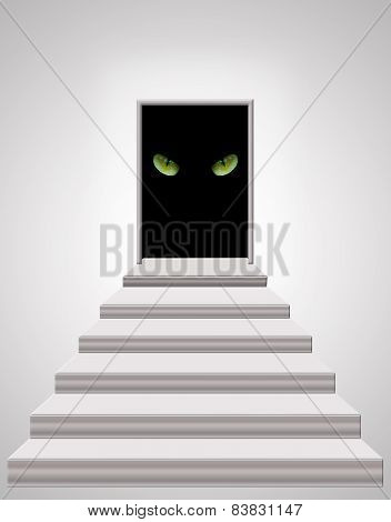 Stairs Leading To Door With Cat's Eyes In Darkness