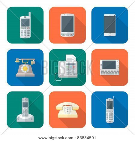 Colored Flat Style Various Phone Devices Icons Set.