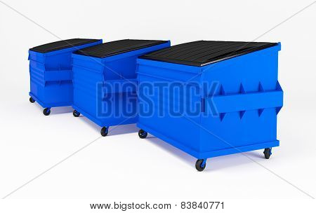 Realistic blue trash boxes.