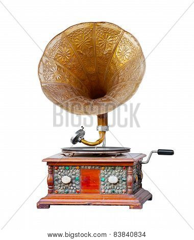Old Wooden Gramophone Isolated On White Background