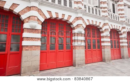 Colorful Facade Of Fire Station In Singapore