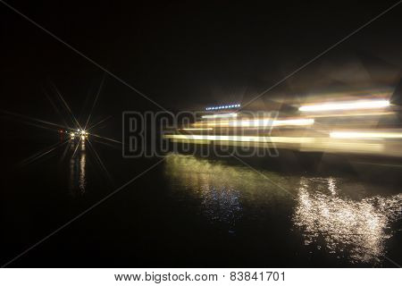 Night View Of Sandbanks Ferry In Dorset