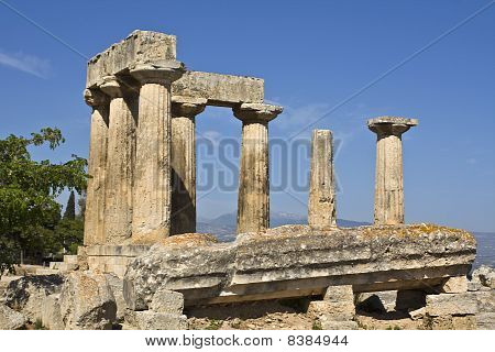 Ancient Corinth, temple of Apollo, Peloponnesus, Greece