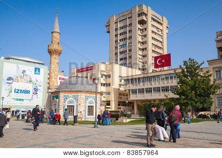 Tourists Walking  Near Ancient Mosque, Izmir, Turkey