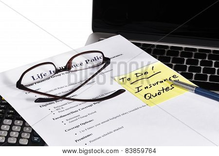 Life Insurance Policy Business Office To Do With Laptop
