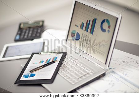 Businessman analyzing investment charts with laptop. Accounting poster