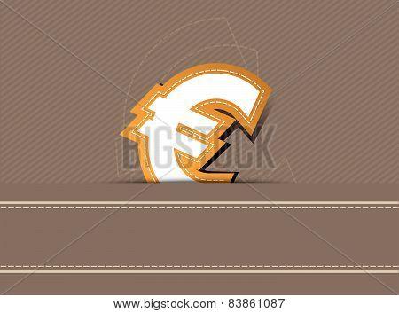 Euro Money Icon Design On Retro Background