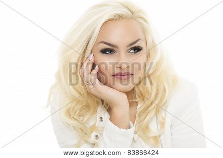 Attractive Meditative Blond Woman