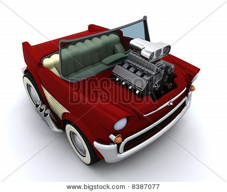 Charicature Of Supercharged 50's Classic Car