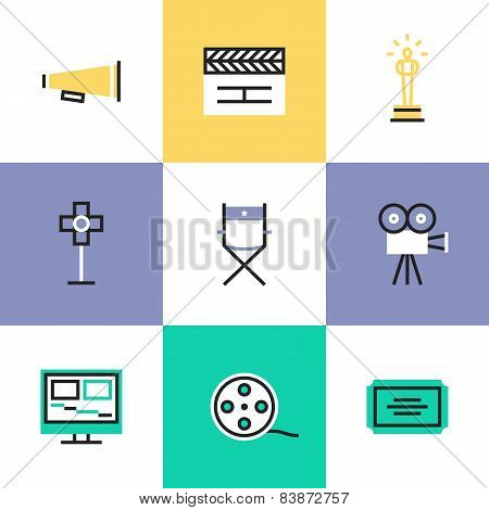 Video Production Pictogram Icons Set