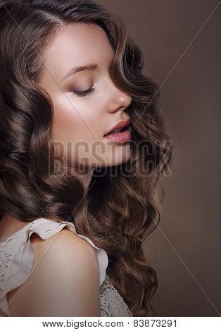 Sensual Romantic Woman With Closed Eyes And Perfect Skin