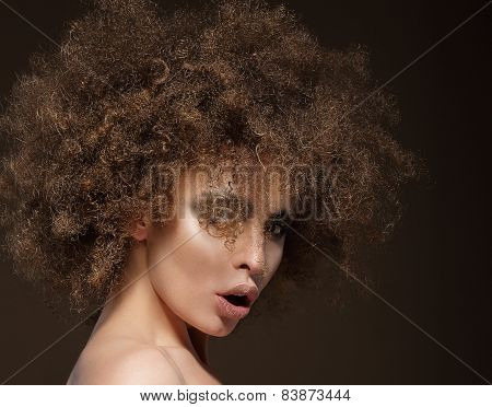 Glam. Trendy Charismatic Woman with Frizzy Hairdo poster