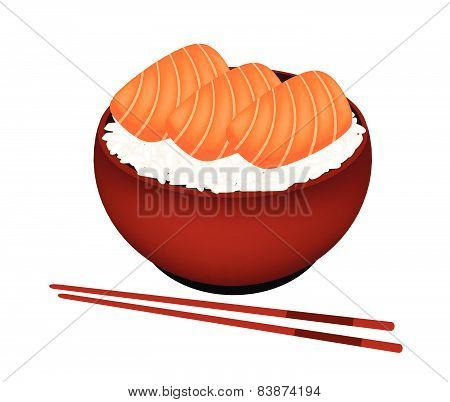 Bowl Of Boiled Rice Topping With Salmon