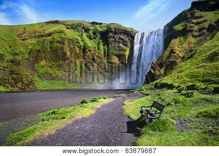 Skogafoss Waterfall In Iceland.