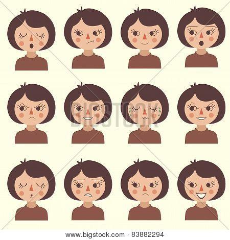 cartoon vector face emotion