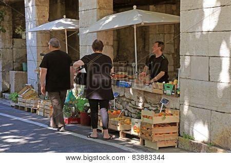 Local Farmer Market In Saint Paul De Vence, Provence, France.