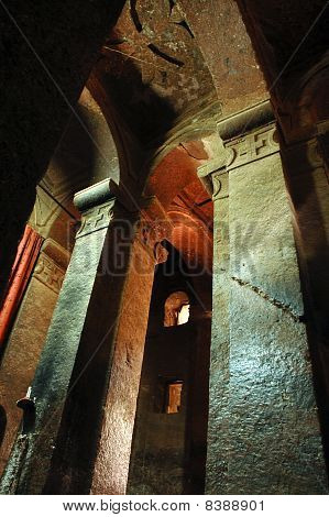 Inside Bet Madhane Alem rock hewn church in Lalibela in Ethiopia poster