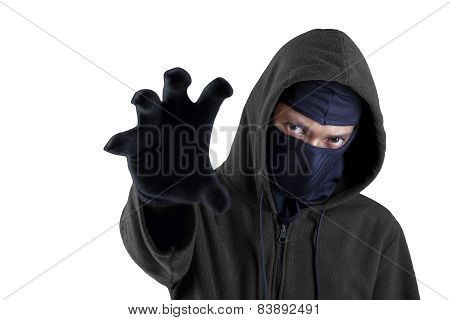 Male Robber Try To Steal Something