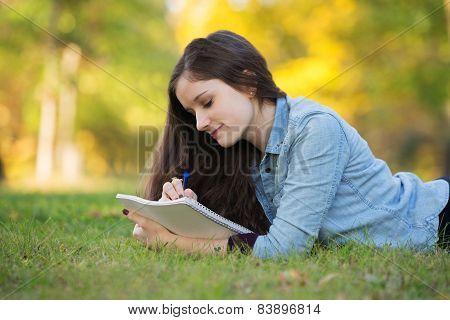 Teen Doing Homework Outside