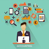 Flat design . Accounting icons on a colorful background poster