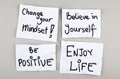 Motivational Inspirational Positive Quotes Phrases / Change Your Mindset, Believe in Yourself, Be Positive, Enjoy Life poster
