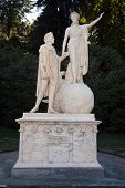 Statue in Villa Melzi, Lake Como, Italy. poster