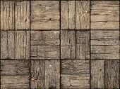 Seamless Background of an old weathered parquet style wooden deck with alternating woodgrain pattern. poster