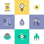 Flat line icons of green energy efficiency development effective electricity consumption solar and oil source production. Infographic icons set logo abstract design pictogram vector concept. poster