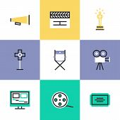 Flat line icons of video production and media post-production award winning film making movie director tools and objects. Infographic icons set logo abstract design pictogram vector concept. poster