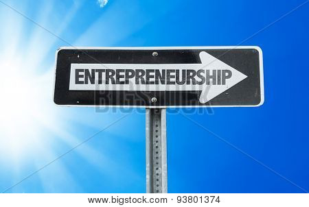 Entrepreneurship direction sign with a beautiful day
