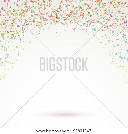 Colorful bright confetti carnival background layout with rainbow dot particle splatter. Vector illustration poster