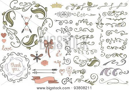 Doodles border,brushes,decor.Colored Floral sketched
