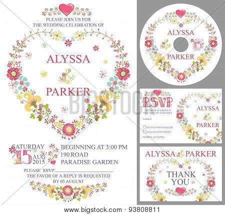 Cute wedding template set.Floral heart wreath