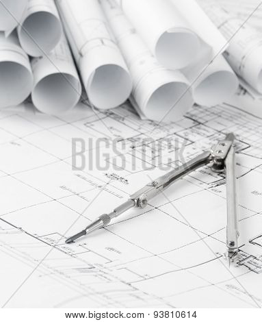 Rolls Of Architecture Blueprints And House Plans