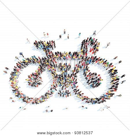 people in the shape of a bicycle.