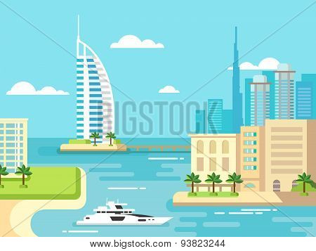 Dubai City Beach Skyline