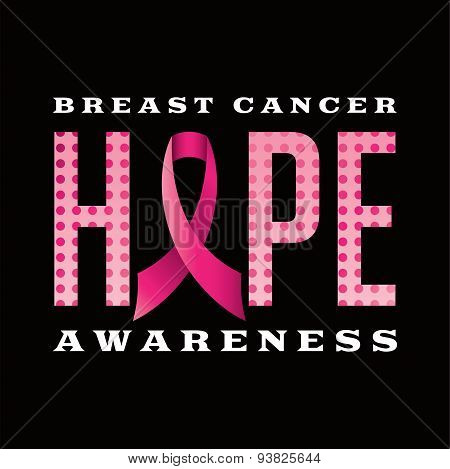 An illustration of a Breast Cancer Awareness Hope message written in pink polka dots and a pink cancer awareness ribbon. Vector EPS 10 available. poster