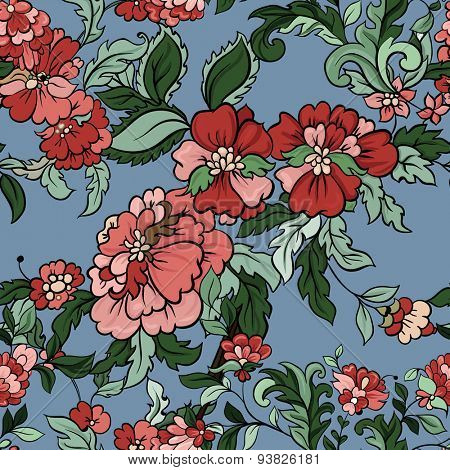 Beautiful  floral seamless pattern on blue. Vector background.