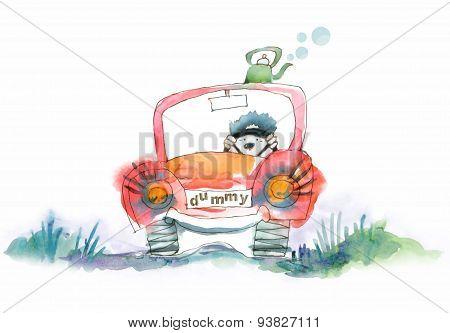 Dummy car driver.