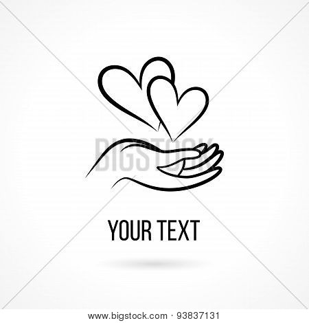Vector logo with hands and heart