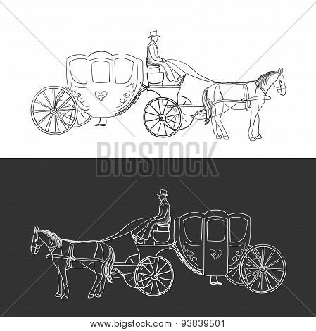 doodle coach, carriage with horse and rider, excellent vector illustration, EPS 10 poster