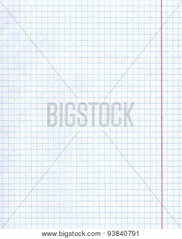 Blank exercise book paper sheet.