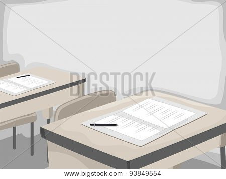 Illustration of a Table Set Up for Applicants Taking the Entrance Exam