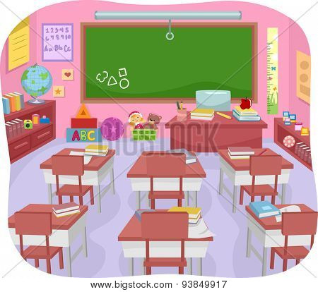 Illustration of a Colorful Preschool Classroom