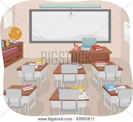Illustration of an Empty Classroom with Books Left Behind