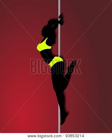Pole Dancer In Bright Yellow Clothes, Sexy Silhouette On Red Background.the Vector